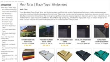 New Mesh Shade Tarps Offer UV Protection and Wind Resistance