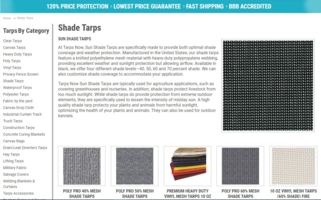 New Line of Mesh Tarps Eliminate Exposure to Intense Sunlight