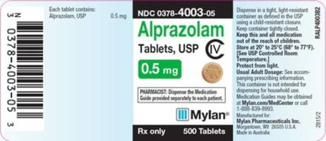 Mylan Pharmaceuticals Initiates Voluntary Nationwide Recall of One Lot of Alprazolam Tablets, USP C-IV 0.5 mg, Due to the Potential of Foreign Substance