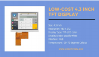 New 4.3 Inch TFT Display with Operating Temperature Ranging from -20 to 70 degree C
