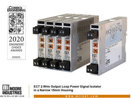 Moore Industries' ECT Isolator/Signal Converter Wins First Place in the Control Engineering 2020 Engineers' Choice Awards