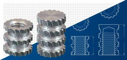 New Molded-in Aluminum Threaded Inserts Consist of Multiple Bands of Helical Knurls