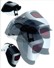 Welding Helmet protects worker from overhead hazards.