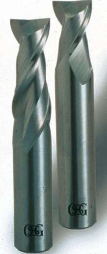 End Mills remove chips in aluminum applications.