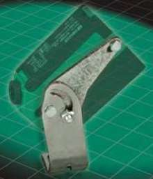 Hinged Mounting Bracket positions photoelectric sensors.