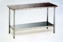 Worktables are made of 16-gauge, type 430 stainless steel.