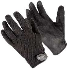 Gloves have suede palm for increased grip.