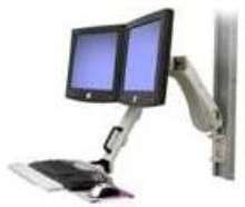 Adjustable Arm holds 2 flat-screen monitors.
