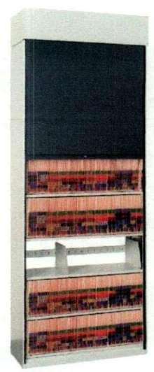 Sliding Door secures medical files in open-shelf systems.
