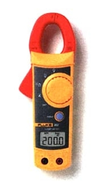 Clamp-on Meter measures current and voltage.