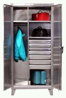 Stainless Steel Cabinets hold tools and equipment.