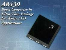 Boost DC-DC Converter IC drives white LEDs in series.