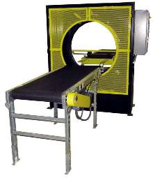 Stretch Wrapping Machine bundles goods for shipping.