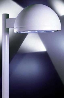 Dome-Shaped Cutoff Luminaires illuminate outdoor areas.