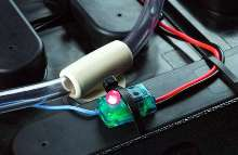 Battery Watering Monitor uses dual color indicator light.
