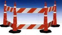 Barriers provide temporary traffic control.