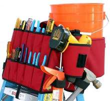 Tool Bag converts ladder top into work shop.