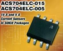 Hall-Effect Current Sensor has integrated current path.