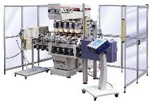 Package Printing Machinery decorates asymmetrical bottles.