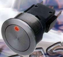 Stainless Steel Pushbutton Switch powers up to 250 Vac.