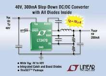 DC/DC Converter includes integrated boost and catch diodes.