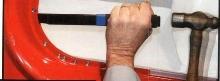 Chisel separates spot welded/bonded panels.