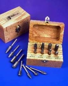 Carbide Bur Kit comes in protective oak box.