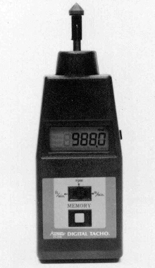 Tachometer measures rpm, fpm, and mpm in 1 second.