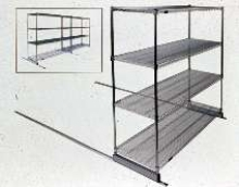 Roller Track System accommodates most wire shelving products.