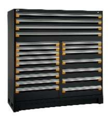 Storage Cabinet offers multiple modular drawers.