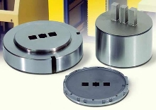 Tooling punches mounting holes in 19 in. enclosures.