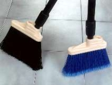 Broom offers upright or angled sweeping.