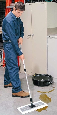 Mop System cleans up oily spots and overspray.