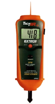 Tachometer includes infrared thermometer.