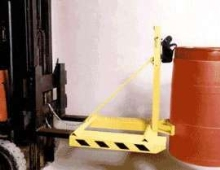 Lift Truck Attachment safely handles rimmed drums.