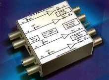 Line Driver drives 4 TTL/CMOS signals into 50 ohm loads.