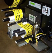 Label Applicator dispenses labels at 4-12 ips.