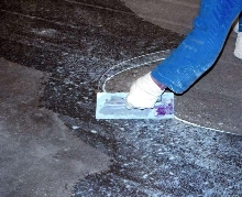 Epoxy Gel repairs concrete floors.