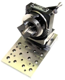 Rotary Grinding Fixture features attached sine plate base.