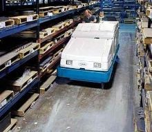 Sweeper/Scrubber provides foam-activated scrubbing.