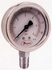 Liquid-Filled Pressure Gage has stainless steel design.