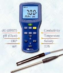 Waterproof Meter measures pH and conductivity.