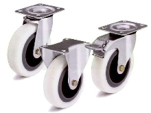 Noise-Absorbing Metric Casters have nylon wheels.