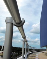 Roof Edge Railing System utilizes open-style fitting.