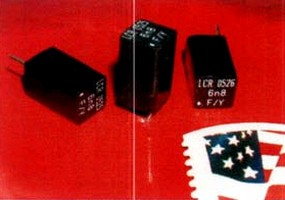 Polystyrene Capacitors are housed in epoxy cases.