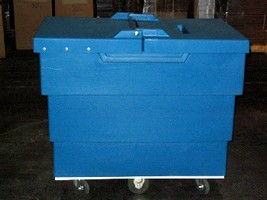 Rolling Recycling Cart secures mail for shredding.