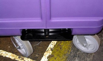 Bulk Linen Truck features recessed safety tow hitch.