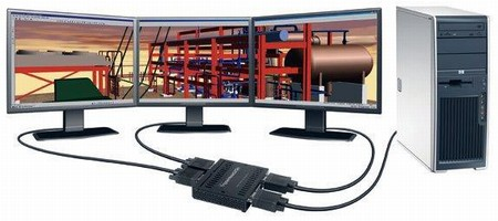 Monitor Adapter enables 3-screen simultaneous viewing.