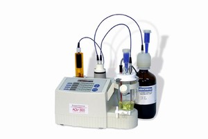 Titrator measures low/high moisture concentrations.