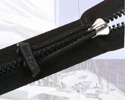 Molded Plastic Zipper features heavy-duty construction.